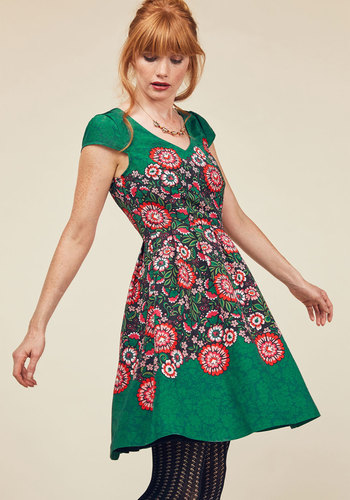 You Can Fete On It A-Line Dress by ModCloth - Green, Pink, Solid, Floral, Print, Special Occasion, Party, Daytime Party, Wedding Guest, Vintage Inspired, 50s, Fit & Flare, Short Sleeves, Woven, Exceptional, Exclusives, V Neck, Mid-length, ModCloth Label, Fall, Pockets, Saturated