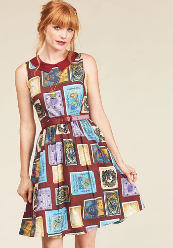 Whimsy Without End A-Line Dress in Bookworm by ModCloth - Multi, Red, Novelty Print, Print, Work, A-line, Sleeveless, Winter, Woven, Best, Exclusives, Private Label, Red, Long, ModCloth Label, Fall, Under 100 Gifts, Unique Gifts