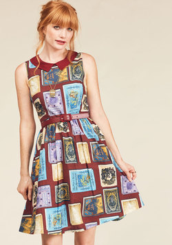 Whimsy Without End A-Line Dress in Bookworm