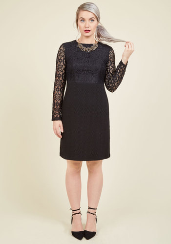 Sultry-Faceted Lace Dress - Black, Solid, Lace, Party, Long Sleeve, Knit, Best, Scoop, A-line, Special Occasion, LBD, Lace