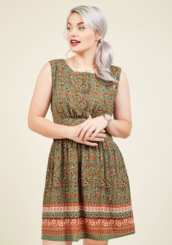 Next Up, Nashville A-Line Dress in Sage Bouquet - Green, Orange, Floral, Print, Casual, Daytime Party, Fit & Flare, Sleeveless, Fall, Woven, Better, Exclusives