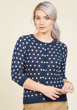 Dot in the Act Polka Dot Cardigan in Navy