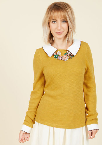 Wine Appreciation Sweater in Goldenrod - Yellow, Long Sleeve, Casual, Knit, Mid-length, Solid, Work, Vintage Inspired, Scholastic/Collegiate, Collared, Fall, Yellow, Long Sleeve, Press Placement