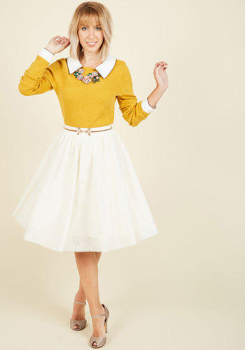 Tulle of the Trade A-Line Skirt in Cream