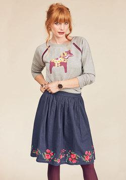 Go Where You Wanna Grow A-Line Skirt in Roses