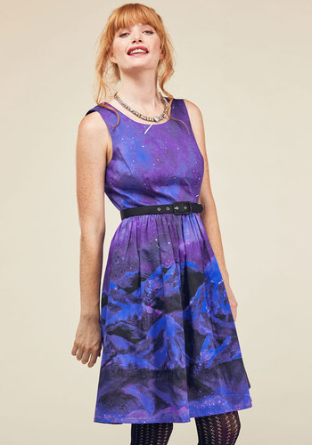 Festive Frondescence A-Line Dress in Midnight Mountain by ModCloth - Multi, Purple, Novelty Print, Print, Pockets, Casual, Cosmic, A-line, Sleeveless, Winter, Woven, Exceptional, Purple, Long, ModCloth Label, Fall, Cosmic Gifts, Unique Gifts