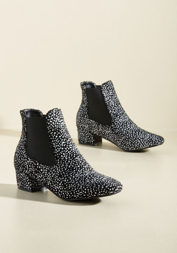 Get Up and Go-Go Booties in Black Dots