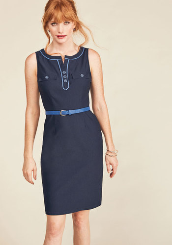 Great Declarations Sheath Dress by ModCloth - Blue, Solid, Work, Sheath, Sleeveless, Winter, Woven, Better, Exclusives, Private Label, Long, Belted, Fall, Trim, Vintage Inspired, 50s, Crew, Saturated, Buttons, Pockets