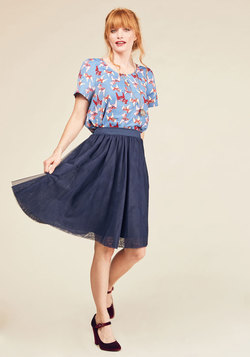 Tulle of the Trade A-Line Skirt in Navy