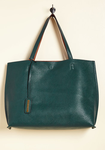 Two-Tone to Tango Bag in Teal - Green, Tan, Solid, Work, Better, Variation, Faux Leather, Gifts Sale