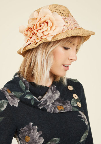 Veranda Tea Fair Hat - Tan, Flower, Casual, Daytime Party, Beach/Resort, Lounge, 90s, Spring, Summer, Better, Vintage Inspired, Gals