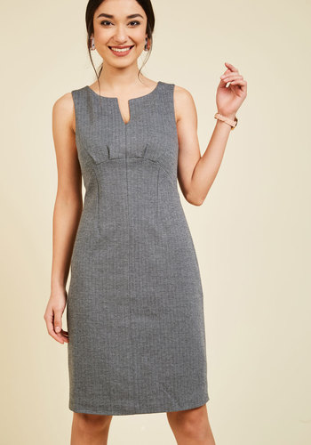 Hold All the Graces Sheath Dress by ModCloth - Print, Chevron, Work, Sheath, Sleeveless, Fall, Woven, Best, Exclusives, Private Label, Mid-length, Herringbone, Urban, Minimal, Scoop, Mod, Grey, ModCloth Label