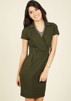 Sophisticated Situation Sheath Dress in Olive