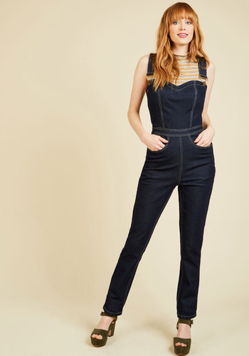 1940s Style Pants & Overalls- Wide Leg, High Waist Dont You Forget About Jeans Overalls $79.99 AT vintagedancer.com