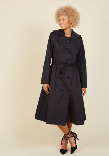 1950s Style Coats and Jackets Classic Catch Trench in Black - Long $169.99 AT vintagedancer.com
