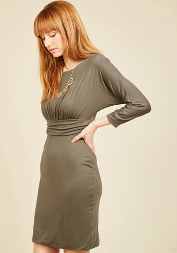 Praise Your Own Way Sheath Dress - Tan, Solid, Work, Casual, A-line, Long Sleeve, Fall, Winter, Knit, Better, Mid-length