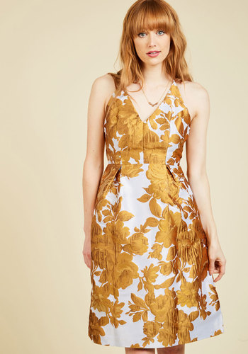 Take the Fab With the Good Floral Dress - Woven, Long, Gold, White, Floral, Backless, Special Occasion, Daytime Party, Wedding Guest, Nature, A-line, Sleeveless, V Neck, Holiday Party