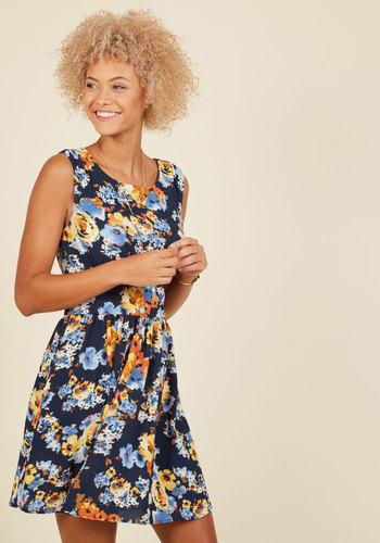 Next Up, Nashville A-Line Dress in Navy Blossoms - Blue, Yellow, Floral, Print, Work, Daytime Party, Fit & Flare, Sleeveless, Summer, Fall, Woven, Better, Exclusives, Mid-length