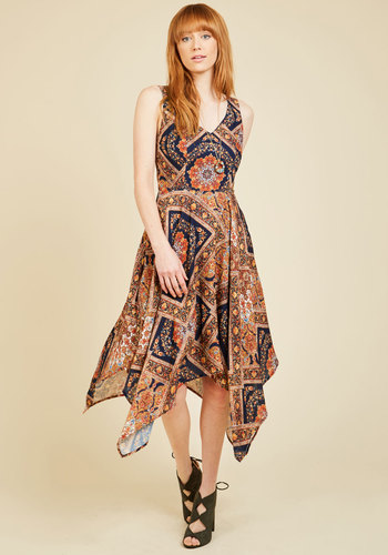 Evenings in Athens Midi Dress by ModCloth - Blue, Print, Daytime Party, Boho, A-line, Sleeveless, Woven, Exceptional, Exclusives, Private Label, Long, Summer, Orange, Casual, Vintage Inspired, 70s, Global, Handkerchief, Pockets, Wedding Guest, Fall, V Neck, Blue, Store 2, ModCloth Label