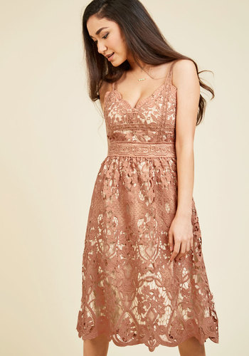 Schenley Park Poetry Lace Dress - Woven, Long, Tan, Blush, Crochet, Embroidery, Lace, Party, Daytime Party, Sleeveless, Spaghetti Straps, Mid-length, V Neck, Lace