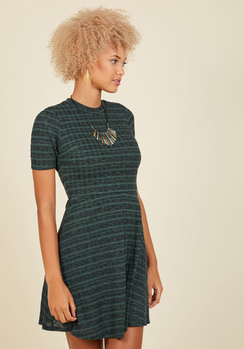 Knit's a Date! A-Line Dress - Mid-length, Green, Stripes, Casual, A-line, Short Sleeves, Summer, Fall, Knit, Crew