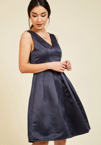 Because I'm Classy A-Line Dress - Solid, A-line, Sleeveless, Spring, Woven, Best, Exclusives, V Neck, Blue, Special Occasion, Wedding, Bridesmaid, Mid-length, Saturated