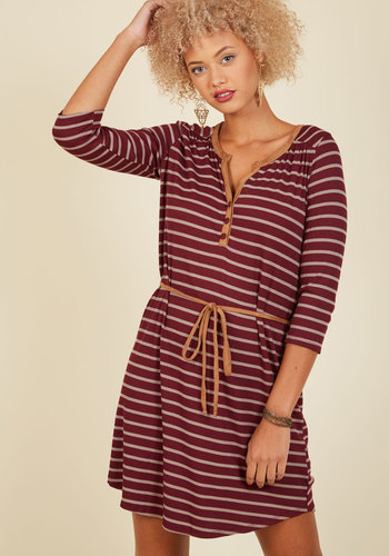 Henley Time, Any Place A-Line Dress - Red, Tan / Cream, Stripes, Print, Casual, Shirt Dress, Fall, Knit, Good, Mid-length, Americana, 3/4 Sleeve, Nautical, Buttons, Belted, V Neck