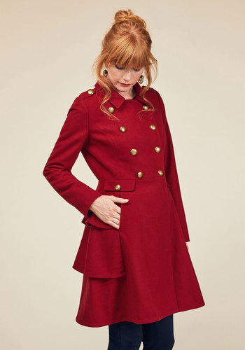 Shop 1960s Style Coats and Jackets Fame and Flattery Coat in Scarlet $149.99 AT vintagedancer.com