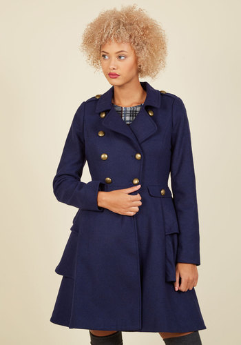 Shop 1960s Style Coats and Jackets Fame and Flattery Coat in Navy $149.99 AT vintagedancer.com
