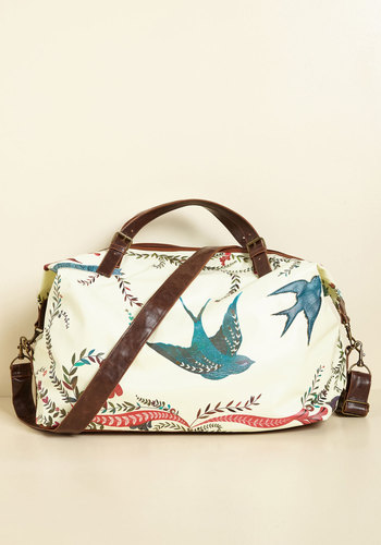 Girl Meets Voyage Weekend Bag by Disaster Designs - Print with Animals, Travel, Best, International Designer, Faux Leather, Multi, Tan / Cream, Mint, Polka Dots, Beach/Resort, Critters, Bird, Woodland Creature, Summer, Quirky, Cream