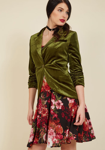 Fine and Sandy Blazer in Green Velvet