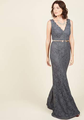 Blithesome Bash Maxi Dress - Grey, Solid, Special Occasion, Prom, Party, Holiday Party, Homecoming, Maxi, Sheath, Sleeveless, Fall, Knit, Lace, Best, V Neck, Bridesmaid, Lace, Pinup, Vintage Inspired, 20s, 50s, Luxe, Statement, Winter, Long, Neutral, Wedding, Valentine's, Wedding Guest, Bodycon / Bandage, Spring, Summer