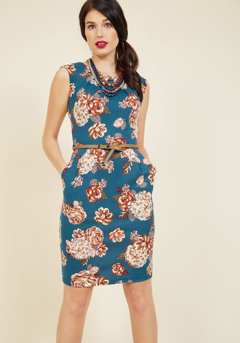 Teaching Classy Sheath Dress in Harvest Blooms - Multi, Blue, Floral, Print, Work, Casual, Daytime Party, Vintage Inspired, 40s, Sheath, Sleeveless, Fall, Knit, Good, Exclusives, Blue, Mid-length, Pockets