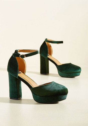 Retro & Vintage Style Shoes Go With the Stride Velvet Heel in Pine $54.99 AT vintagedancer.com