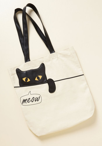 Give You Paws Tote - Cream, Black, Animal Print, Print with Animals, Casual, Quirky, Cats, Critter Gifts, Unique Gifts, Under 50 Gifts
