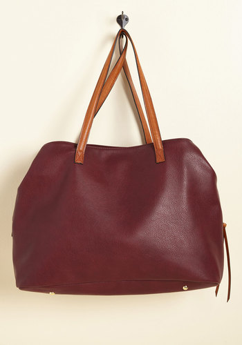 Minutes Turn to Sections Bag in Burgundy - Red, Work, Casual, Scholastic/Collegiate, Fall, Better