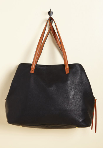 Minutes Turn to Sections Bag in Black - Black, Work, Casual, Scholastic/Collegiate, Fall, Faux Leather, Better