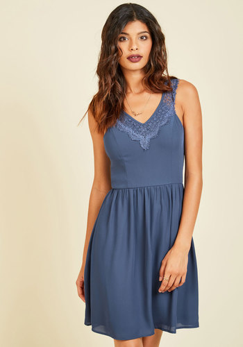 That's a Good Pointe A-Line Dress - Blue, Solid, Daytime Party, A-line, Sleeveless, Fall, Woven, Good, Mid-length, Lace, Lace