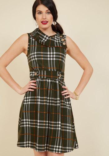 1950s Plus Size Dresses Coach Tour A-Line Dress in Olive Plaid $59.99 AT vintagedancer.com