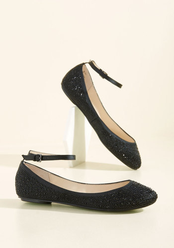 Retro Vintage Flats and Low Heel Shoes Dazzling Demeanor Flat in Noir $98.99 AT vintagedancer.com