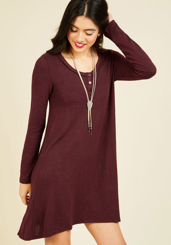 Henley Given Moment Shift Dress - Red, Solid, Casual, Shift, Long Sleeve, Fall, Knit, Better, Short, Minimal, Scoop