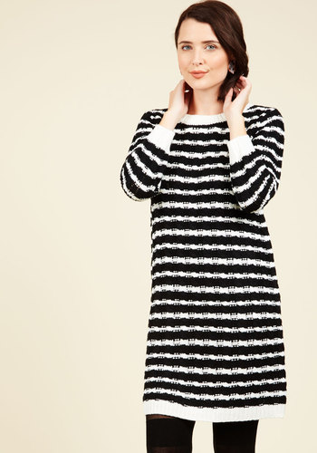 Central Park Spark Sweater Dress - Black, Tan / Cream, Stripes, Print, Casual, 3/4 Sleeve, Fall, Knit, Better, Sweater Dress, Bodycon / Bandage, Mid-length