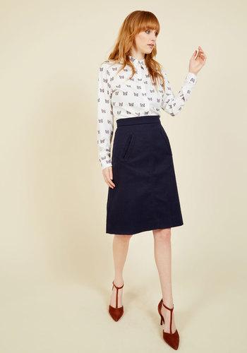 Retro Skirts: Vintage, Pencil, Circle, & Plus Sizes Aptitude for Anthropology A-Line Skirt in Navy $69.99 AT vintagedancer.com