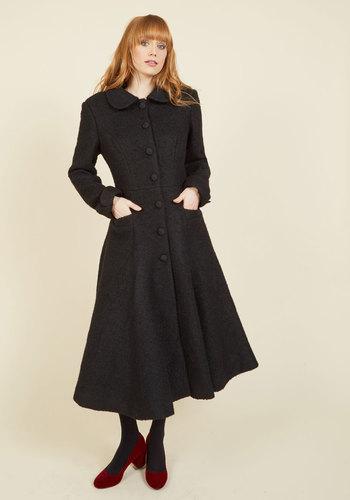 Retro Vintage Style Coats, Jackets, Fur Stoles Elegance of the Era Coat in Noir $219.99 AT vintagedancer.com