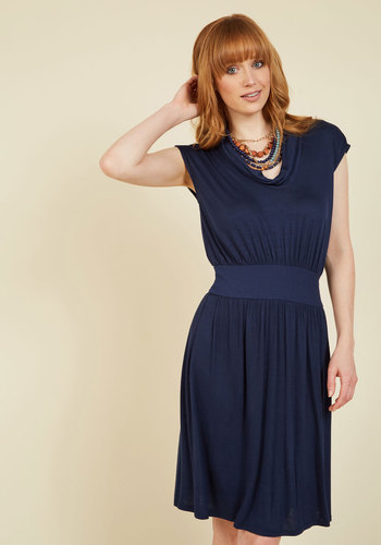 Wowed by Your Ways Jersey Dress in Navy - Blue, Solid, Casual, A-line, Short Sleeves, Fall, Winter, Knit, Good, Exclusives, Private Label, Mid-length