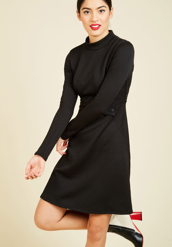 Taken by Texture A-line Dress - Black, Solid, Work, Fit & Flare, Long Sleeve, Winter, Knit, Better, Exclusives, Private Label, Mid-length, LBD, Mockneck