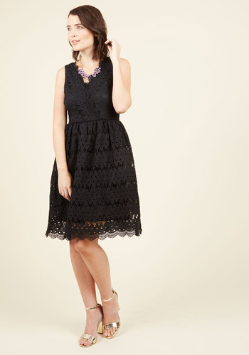 Stately Satisfaction Lace Dress in Noir - Black, Solid, Crochet, Party, Cocktail, Wedding Guest, Fit & Flare, Sleeveless, Spring, Summer, Fall, Winter, Lace, Exclusives, V Neck, Lace, Scallops, Special Occasion, Girls Night Out, Holiday Party, Homecoming, Vintage Inspired, 50s, LBD, A-line, Better, Long