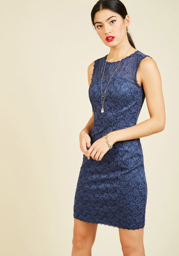 Forever Flirtatious Lace Dress by ModCloth - Blue, Solid, Lace, Scallops, Special Occasion, Prom, Party, Holiday Party, Wedding Guest, Shift, Sleeveless, Fall, Winter, Knit, Lace, Better, Exclusives, ModCloth Label, Sweetheart, Mid-length, Saturated