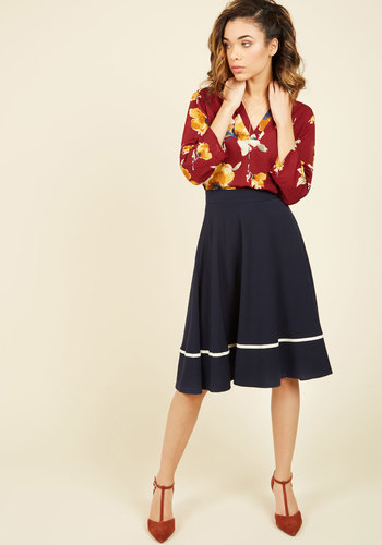 Streak of Success Midi Skirt in Navy - Blue, Nautical, Work, Pinup, Solid, Best Seller, Trim, Americana, Spring, Full, Top Rated, Woven, Variation, High Rise, Exclusives, Long, High Waist, Vintage Inspired, Casual, Beach/Resort, Rockabilly, 50s, Summer, Better, Fall, Winter, Neutral