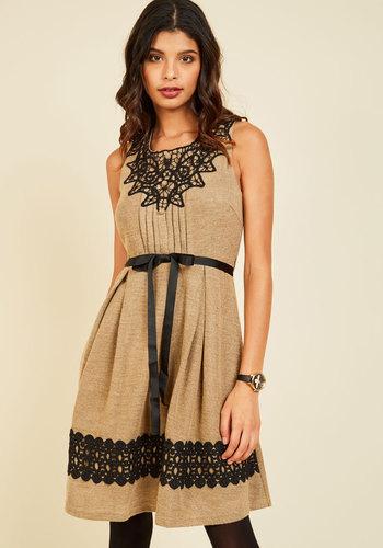 Eleventh Hour Elan A-Line Dress - Brown, Black, Solid, Crochet, Work, A-line, Sleeveless, Fall, Knit, Better, Mid-length